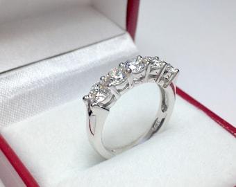 Vintage 5 Stone 1.60CT Diamond Ring l 14KT White Gold Diamond Ring l Anniversary Ring l Multistone Ring