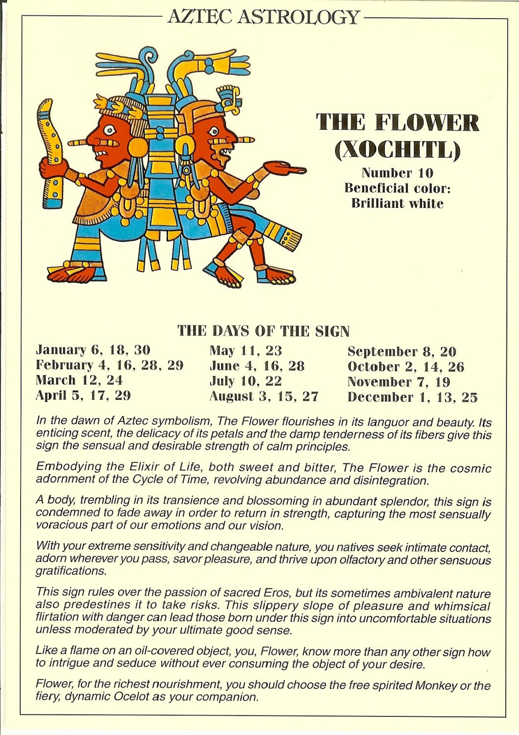 Vintage aztec astrology postcard the flower from zodiac zoom biocorpaavc Images