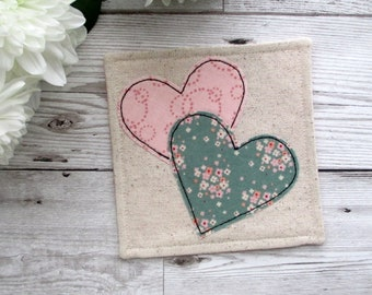 Heart Coaster, Drink Coaster, Fabric Coaster, Gift For Her, Desk Decor, Applique Gift, Small Gift Idea, Gift For a Loved One