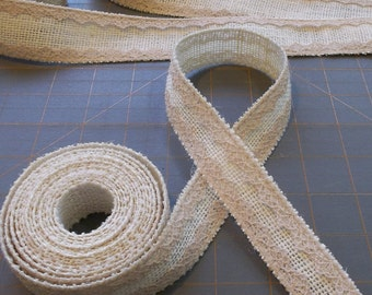 CLOSE OUT CLEARANCE ~ Vintage Style Ivory Burlap Ribbon with Lace