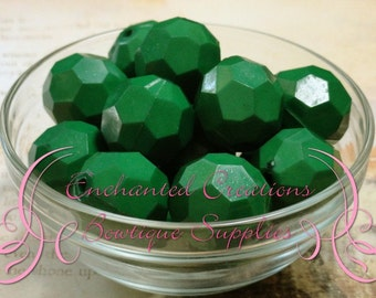 20mm Solid Emerald Green Hexagon Beads 10pcs, Chunky Beads, Bubblegum Beads, Gumball Beads, Dark Blue Faceted Beads, Hexagon Beads