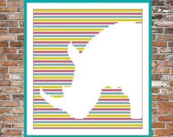 Rhino on Stripes - a Counted Cross Stitch Pattern