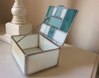Stained Glass Jewelry Box Blue and Milk Glass