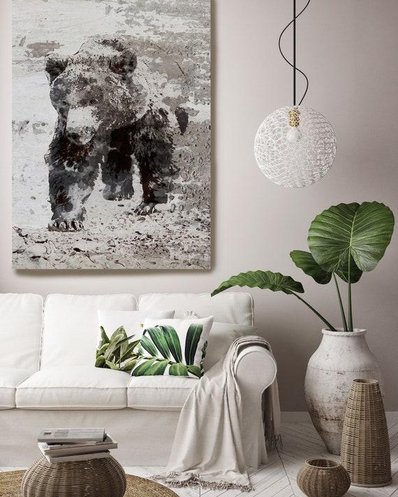 "Brown Bear Walking, Art Large Canvas, Bear Art, Black Brown Rustic Bear, Rustic Vintage Bear Wall Art Print up to 81"" by Irena Orlov"