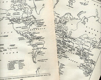 Vintage World Map Political 1950s original