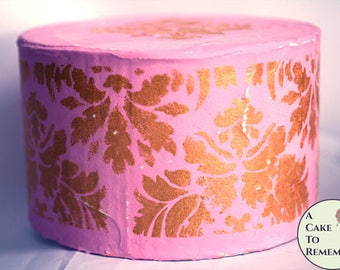 """6"""" round fake cake, pink and gold antiqued faux cake for first birthday photo shoots, princess parties, wedding photo booths or food props."""