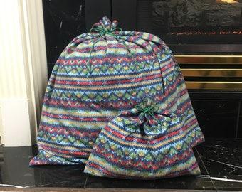Flannel Gift Bags, Sweater Print, Christmas Fabric Gift Bag, Cloth Gift Bags, Green Cord Tie, Up to set of 5, Christmas Gift, Reusable Bag