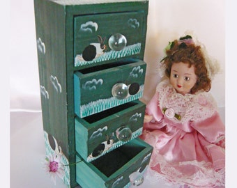 Vintage Dollhouse Furniture Handmade Hand Painted Cupboard (Chest of Drawers or Commode - Country Cottage)