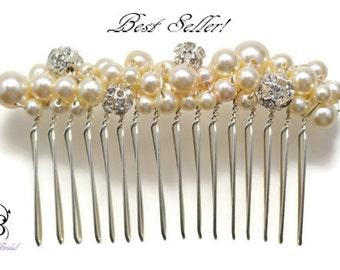 Bridal Hair Comb ~ Wedding Hair Accessories ~ Bridal Hair Accessories ~ Pearl Rhinestone Hair Comb ~ Pearl Hair Comb ~ Wedding Accessories