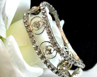 Rhinestone Stretch Bangle Vintage Bracelet Clear Rhinestone Bangle Bracelet Stretch Bracelet Free Shipping in USA