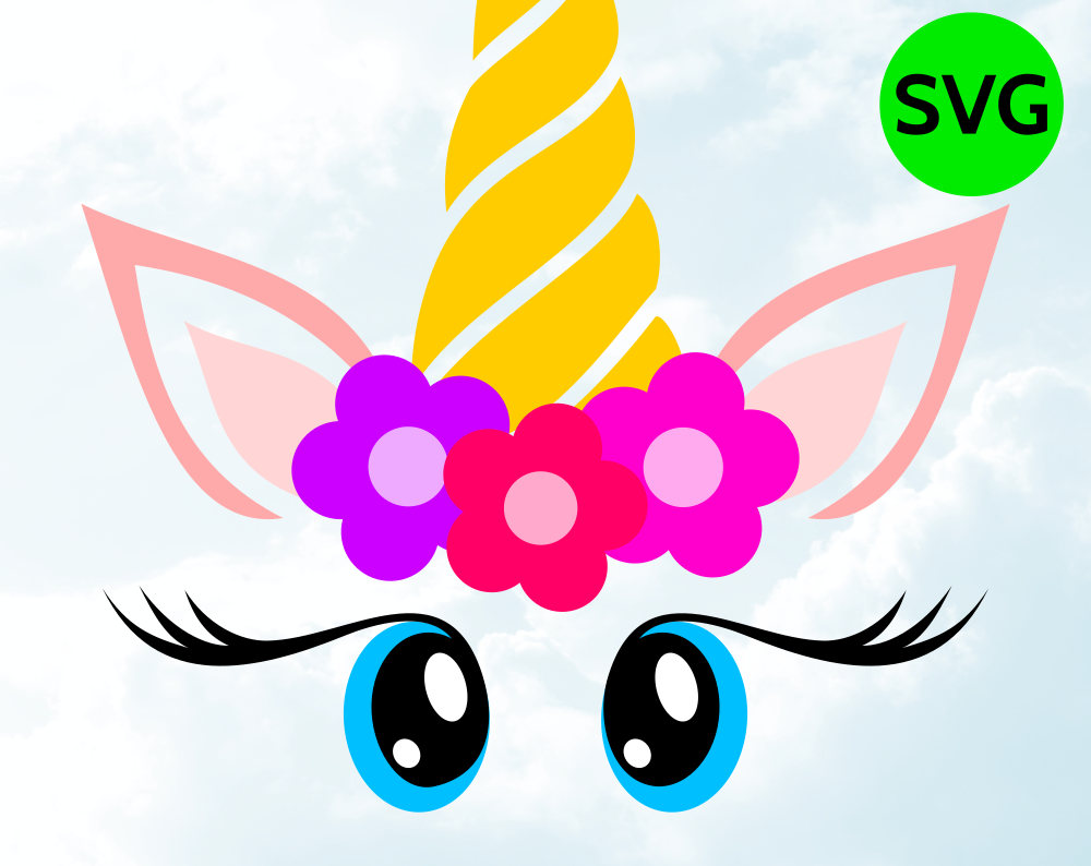 Unicorn Face Svg With Flowers Horn Eyelashes And Big