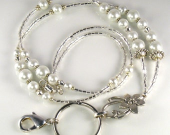 Beaded Lanyard JASMINE glass id badge holder - white pearls