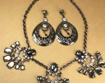 Black Large Statement Earrings with Black/Grey/Clear Rhinestones Necklace