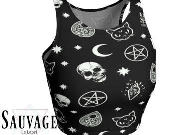 Satan's cat/ skulls and ouija • Athletic black and white crop top • Festival and yoga classes approved