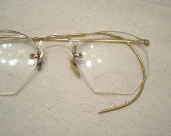 Vintage Gaspari Wire Rim Eyeglasses Eyewear John Lennon Boho Steampunk Beautiful Gold Filled with Case Stunning