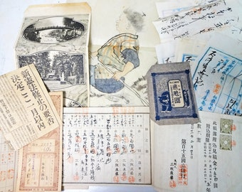 1800 - 1930s Japanese vintage Ephemera Scrap Grab bag