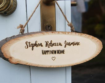 Personalised 'Happy New Home' Sign - Custom Engraved Wooden Sign - Personalised Wooden Door Sign - New Home Gift - Shabby Chic Door Sign
