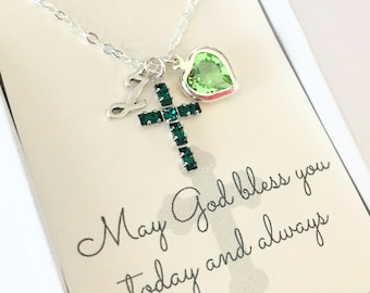 Crystal Cross Pendant - Cross Necklace - Emerald - Peridot - May - First Communion Gift - Gift for Goddaughter - Goddaughter Gift - N105