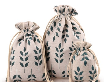 Gift bags, fabric bags, jewelry bags, burlap bags, wedding favor bags, natural jute bag, Christmas gift bag, wedding favors, 10pcs, BAG-023