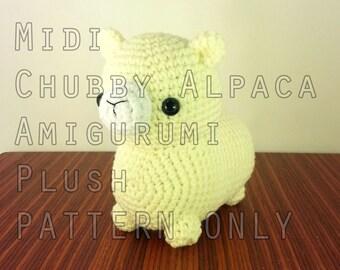 PATTERN: Midi Chubby Alpaca Amigurumi Plush (instant download)