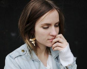 Gold Statement Earrings, Geometric Statement Earrings, Gold Geometric Earrings, Gold Dangle Earrings, Big Gold Earrings | Barrier Earrings