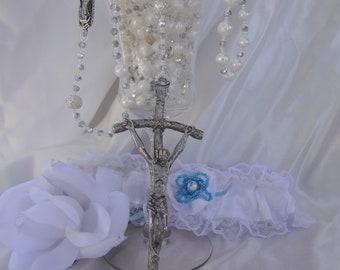 Fresh Water Pearls and Silver Swarvoski Crystal Wedding Lasso/Lazo