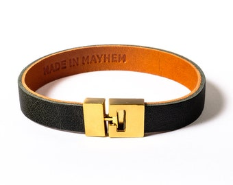 Olive Green Leather Bracelet for Men and Women, custom sizes available with brass clasp. Available in Small, Medium and Large. Made in USA