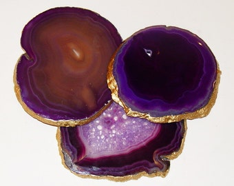 Large Purple Agate Slice 18K Gold Leaf Coaster Gemstone Coasters One Coaster Wine Bar Glass Wedding Bride Groom