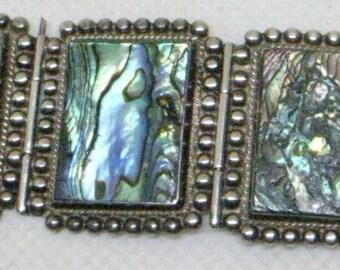 Bracelet Vintage Taxco - liens Chunky, argent Sterling - magnifique Abalone - Bracelet Chunky - Design Mid Century Modern - Mexique - signé