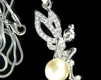Swarovski Crystal Pearl Tinkerbell Tinker Bell Pixie Magic Fairy Charm Pendant Necklace NEW