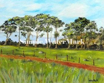 Home Decor - On The Road To Monterey - large giclee print landscape,green eucalyptus trees, meadow original painting
