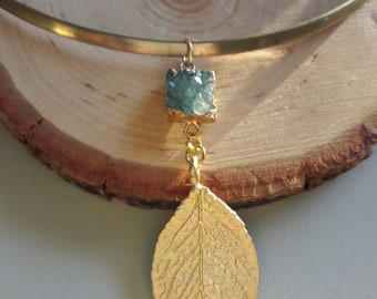 Blue Drussy and Brass Choker Necklace