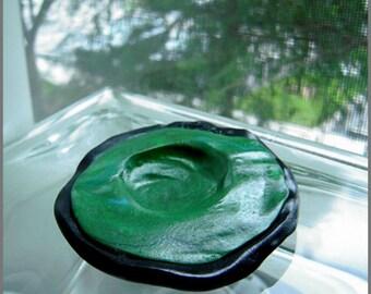 Handmade green & black faux rock artist signed ring trinket dish handmade in USA, eco friendly hostess gift, ring bearer, woodland, boudoir