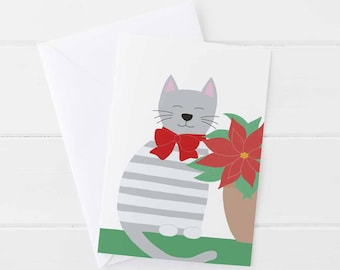 Greeting card, Christmas, cat and poinsettia