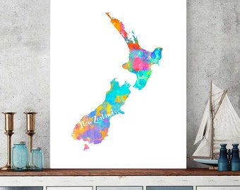 New Zealand Map, New Zealand Download, Wall Art Decor, Watercolor Map Print, New Zealand Gift, Printable Map