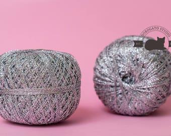 Silver sparkle yarn, Lurex yarn, glitter yarn, shining yarn, sparkling yarn, metal yarn, silver