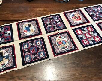 "Rural Estate Quilter's Stash Vintage Wamsutta Cotton Blend Quilt Patches Blocks Fabric 44""x 18"" Red Navy Blue"