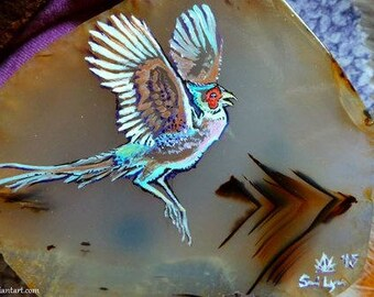 Pheasant Flight, Ringneck pheasant, Wildlife art, Stone painting, Montana Agate, acrylic on gemstone, Pheasant, bird art