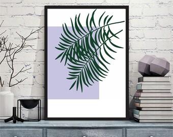 Printable art Digital Prints Wall art Home decor Palm branches palm tree purple printable art, printable prints