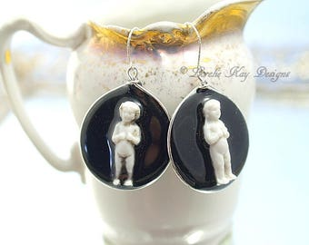 Frozen Charlotte Doll Earrings Black Resin Tiny Charlotte Doll Hoop Resin Sterling Earrings Lorelie Kay Original
