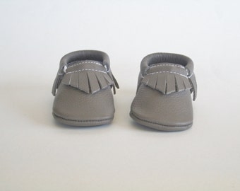 Gray Leather Baby Moccasins