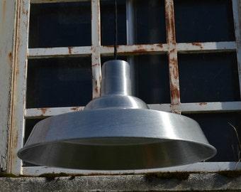 Vintage Pendant Light, Modern Farmhouse Lighting, Aluminum Pendant Lamp, Industrial Lighting, Barn Light, Cottage Chic Decor, Rustic Light