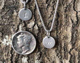 Sweet little sterling silver initial charm necklace
