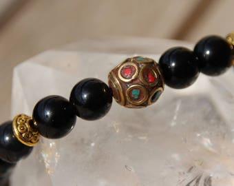 Obsidian Tibetan Bead Bracelet