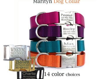 Personalized dog collar Laser engraved dog collar Metal buckle pet ID tag dog collars Dog ID tag pet collar Christmas gift for dog lover