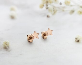 Tiny Star Earrings, 14K Gold Earrings, Rose Gold, Small Star Earrings, Solid Gold Studs, Women Gift, Minimalist Earrings, Mini Star Earrings