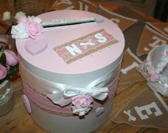 urn wedding rustic round burlap white and pink blush roses romantic Bohemian