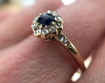 Sapphire & rose cut diamond ring