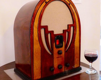 Wifi and Bluetooth speaker system 1935 Philco model 60B radio with FM and Aux inputs. Cathedral Art Deco style. 100watts!