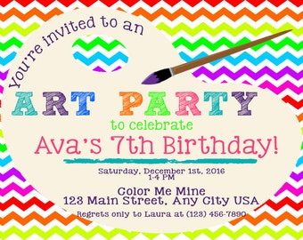 Paint Art Party Birthday Invitation PRINTABLE DIY Girls, boys, crafts, painting party